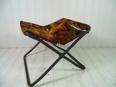 Antique Tapestry & Heavy Metal Petite Folding Stool Buggy Seat - Vintage Original Rug Camp Chair - Shabby BoHo Chic Industrial Photo Prop $28.00 by DivineOrders