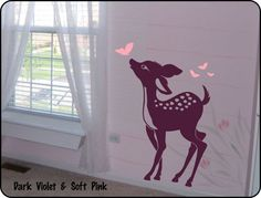 baby deer wall decals | Baby Deer Fawn Vinyl Wall Decal Sticker for Nursery or Childrens Room ...