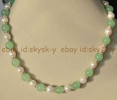 Natural 10mm Light Green Jade & 9-10mm Genuine White Cultured Pearl Necklace AAA #skysk #StrandString