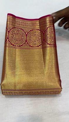 Bridal Sarees South Indian, Wedding Silk Saree, Indian Bridal Outfits, Indian Bridal Fashion, Indian Wedding Jewelry, Cotton Saree Designs, Saree Blouse Neck Designs, Half Saree Designs, Blouse Designs