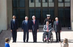 President Obama stands with former Presidents George W. Bush, Bill Clinton, George H.W. Bush, and Jimmy Carter, at the dedication of the George W. Bush Presidential Library in Dallas, Texas, April 25, 2013.