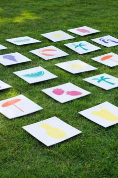 Cute giant DIY lawn matching game! Perfect for a kid's birthday party in the park. #budgetparty #birthdaygames #lawngames