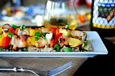 Grilled Hawaiian Kebabs | Skewered chicken, peppers, onions and pineapple drizzled with an easy pineapple, ginger and garlic marinade then grilled to perfection.