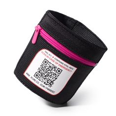 This cuff for your coffee turns into an arm band when out and about for a key, cash or credit card with the added feature of an QR code for safety and identification should an accident occur.