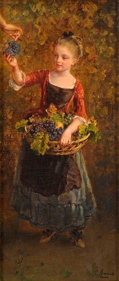 Girl with Grapes - Ludwig Knaus - (German, 1829 - 1910)