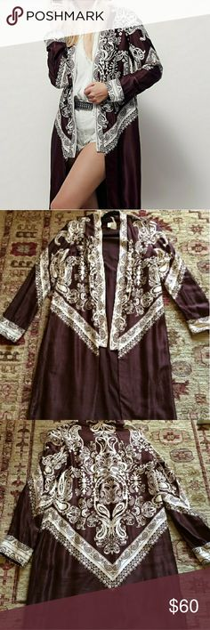 Free People Bandana Kimono NWT beautiful FP cardigan kimono. Super unique and rare in a maroon color with paisley detail. Free People Tops