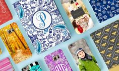 Outfit your iPhone, iPad, iPod or Samsung Galaxy with a cover featuring an uploaded photo or your name or initials on exclusive designs