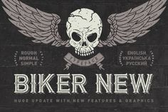 Hello! Introducing a huge update of Biker typeface. Now it includes also cyrillic characters, numbers, and other basic glyphs (the fourth screenshot). Also now it has separated font files for shadow layer. Rough & clean versions are available. As a bonus included a skull illustration with wings and ribbon and a bear illustration in vector eps format.