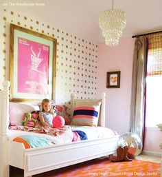 Allover Starry Nights Stencil in cute pink and gold girl's bedroom