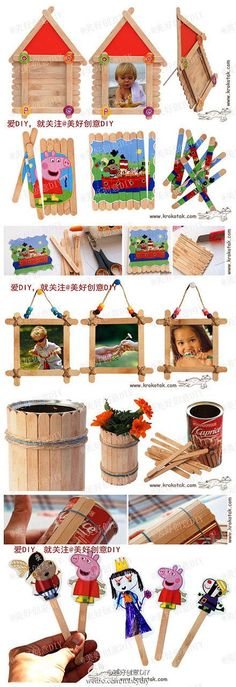 Kid's crafts. Oh the popsicle stick!
