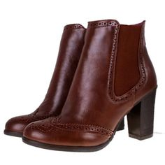 Brogue Chelsea Ankle Boots - Brown