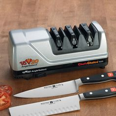 With the Edge Pro Knife Sharpener, you'll be able to accurately restore edges to any of five different bevel angles and polish those edges to razor sharpness.
