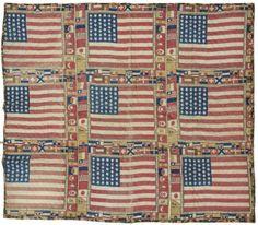 c 1876 Unique US 39-Star Flags Centennial Quilt : Lot 225