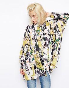 Image 1 ofASOS Oversized Seam Detail Kimono Blouse in Floral Print