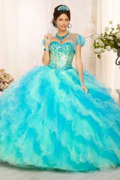 2014 New Quinceanera Beaded Bodice Sweetheart With Ruffle Skirt USD 389.99 LDP684SYM7 - LovingDresses.com