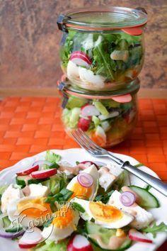 słoikowe sałatki do pracy Diet Recipes, Cooking Recipes, Healthy Recipes, Healthy Snacks, Healthy Eating, Appetizer Salads, Slow Food, Foods With Gluten, Food Design