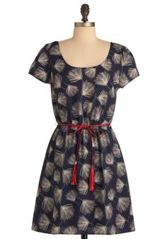 Instant Wishes Dress in Navy - Mid-length, Blue, Multi, Red, Tan / Cream, Floral, Tassles, Casual, Short Sleeves, Belted