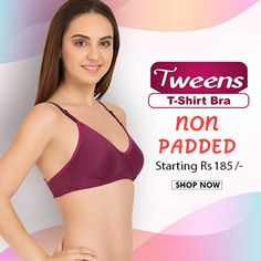 Buy #Tweens T-Shirt #Bra , NON PADDED starting Rs. 185, COD, 15 days return , #free-shipping @www.bellelingeries.com Affordable Lingerie, Belle Lingerie, T Shirt Bra, Tween, Cod, Shop Now, Free Shipping, Cotton, Stuff To Buy