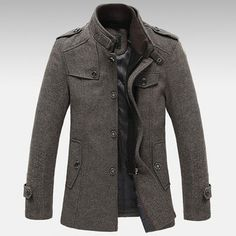 Only US$63.25 , shop Mens Knitted Stand Collar Wool Blend Tweed Coats Long Jackets at Banggood.com. Buy fashion Coat online.