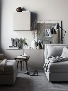 IKEA Livet Hemma – greige living room styling with IKEA Ikea Inspiration, Interior Inspiration, Sunday Inspiration, Living Room Grey, Living Room Interior, Home And Living, Modern Scandinavian Interior, Scandinavian Style, Modern Decor