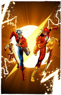 The Flash Family. From left to right, Impulse(Bart Allen), The Flash(Jay Garrick), The Flash(Barry Allen), and Kid Flash(Wally West).