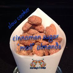 """I've been on a search for a great at home """"mall"""" almond recipe... You know, the treats, sold from carts that fill the air with delicious smells and charge a fortune for a handful of nuts. I've tried a bunch of recipes from other people and kept modifying until I was happy... Finally, here it is! At home """"mall"""" almonds, made in the slow cooker."""