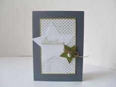 Bevor ich euch heute die Weihnachtskarten zeige, möchte ich mich erst mal bei euch entschuldigen, ich schaffe es gerade einfach nicht, ausfü... Diy Christmas Cards, Christmas Star, Xmas Cards, Christmas Ideas, Paper Cutting, Stampin Up, Diy And Crafts, Scrap, Place Card Holders