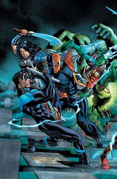 Frankensteining DC Comics For May Including The Lazarus Contract Teen/Titans/Deathstroke Crossover (UPDATE) Nightwing, Batwoman, Comic Book Covers, Comic Books Art, Comic Art, Book Art, Comic Pics, Wally West, Teen Titans