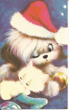 Vintage Christmas Card. This reminds me of these 2 very cute christmas candle holders I have that have that exact dog and a cat curled up together in Santa hats.
