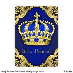 Fancy Prince Baby Shower Blue 4.5x6.25 Paper Invitation Card