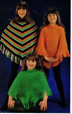 PDF Knitting Pattern Girls Poncho Pattern in Double knitting- fits ages 16 years Poncho Knitting Patterns, Knitting Wool, Crochet Poncho, Double Knitting, 70s Fashion, Girl Fashion, Vintage Fashion, Girls Poncho, Fit 4