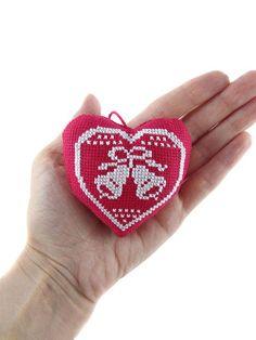 Christmas tree heart Cross stitch bells Xmas ornament Holiday