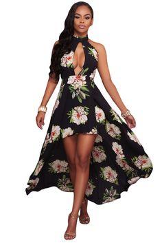 4cfb426bc8f Robe Longue Barboteuse Femme Broderie Fleur Pur Noir Mousseline ...