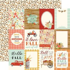 Carta Bella Paper - Fall Market Collection - 12 x 12 Doubled Sided Paper - 3 x 4 Journaling Cards Prima Marketing, Decoupage Printables, Echo Park Paper, Spellbinders Cards, Papers Co, Craft Papers, Fall Cards, Hello Autumn, Autumn Theme