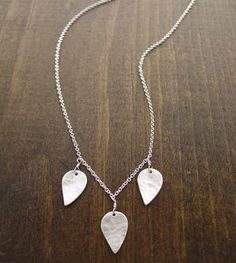 Three Silver Leaves Necklace