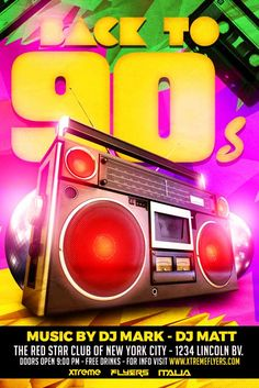Back to 90s Party Flyer Template - http://www.xtremeflyers.com/back-90s-party-flyer-template/ Back to 90s Party Flyer Template PSD was designed to advertise a disco 90s event or a vintage night, in a pub / bar / club. #90S, #BackTo80S, #BackTo90S, #Disco, #Flyer, #Poster, #Psd, #Retro, #Template, #Vintage