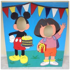 Mickey Mouse and Dora the Explorer Face-in-hole / photo cut out / head in a hole / Photo booth / Face in a hole Great birthday party idea for kids. http://hootlife.wordpress.com