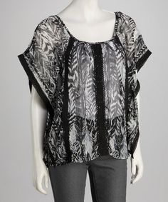 Take a look at this Black Leaves Sheer Cape-Sleeve Tunic by Panitti on #zulily today!