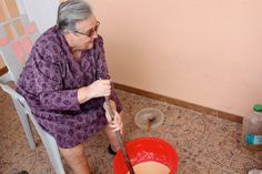 Spanish grandmother Francisca makes homemade Castile soap. Homemade soap, the traditional Castile way