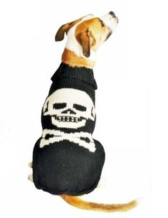 Chilly Dog Skull Dog Sweater-Is your pup Bad to the Bone? Or maybe just bad with hiding bones. either way, he needs a Skull Pet Sweater! While wearing his Chilly Dog Skull Dog Sweater, heÆll be telling the world just how tough he is (even though eve Skull Sweater, Knit Dog Sweater, Pet Dogs, Dog Cat, Pets, Doggies, Dog Skull, Pet Sweaters, Crochet Sweaters