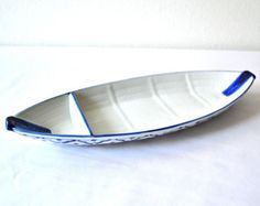 CERAMIC Boat Shaped PLATE 1 Hand Painted Partition Asian Blue