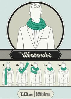 A scarf knot for The Weekender See also: Scarf knots for The Jet Setter, The Connoisseur, The Ivy Leaguer, The Sophisticate & The City Slicker. Ways To Tie Scarves, Ways To Wear A Scarf, How To Wear Scarves, Scarves For Men, Scarf Knots, Tie Knots, Mens Scarf Fashion, Ebooks Pdf, Latest Mens Wear