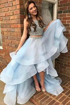 Light Blue Two Piece Beading High Low Prom Dresses, Sparkly Sleeveless Evening Dress – Simibridaldress - New Site Sparkly Prom Dresses, Prom Dresses Two Piece, High Low Prom Dresses, Prom Dresses For Teens, Beaded Prom Dress, Sexy Dresses, Beautiful Dresses, Evening Dresses, Formal Dresses