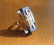 Mod 1970s 16K Gold and Topaz Cocktail Ring from WhimsicalVintage ~ I love this ring!