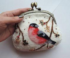 Handmade felted wallet (purse) with bullfinch, Wool pouch, wool wallet. felted pouch