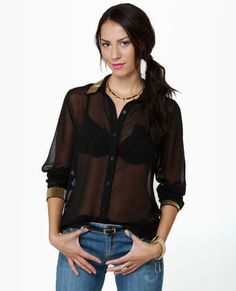 Beady-sy Bee Sheer Black Button Up Top