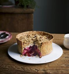 Deliciously warming apple and blackberry crumble pie. Serve with vanilla ice cream or custard. Find more autumnal recipes on the Waitrose website.