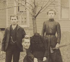 This is the Buckley Family. The children's names were Susan and John. As a Halloween joke, all the kids in the neighborhood were going to get a dummy and pretend to chop its head off. The Buckley children thought it would be hilarious to actually murder their mother, so when the kids walked up the the door, they got an axe and slaughtered her. Once everyone figured out what they had really done, they called the police, but the kids were long gone. The only picture of them was this photo...