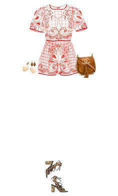 How to Style a Coral Printed Romper with Leopard Sandals by outfitsfortravel on Polyvore featuring Alice McCall, Yves Saint Laurent, Chloé, Chanel, Michael Aram and Ray-Ban