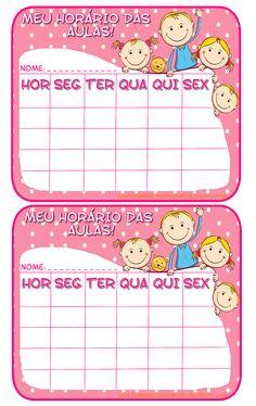 Plaquinha para anotar o horário das aulas